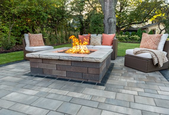 fire pit with bench on the side